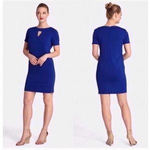 Tahari Keyhole Side Zip Slit Scuba Shift Dress